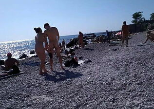 Nude men on beach